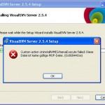 Screenshot of UninstallWMISchemaExecute-Exception (0x8004401e) when updating VisualSVN on Windows XP
